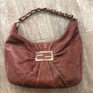 Fendi brown Leather Mia Hobo Bag
